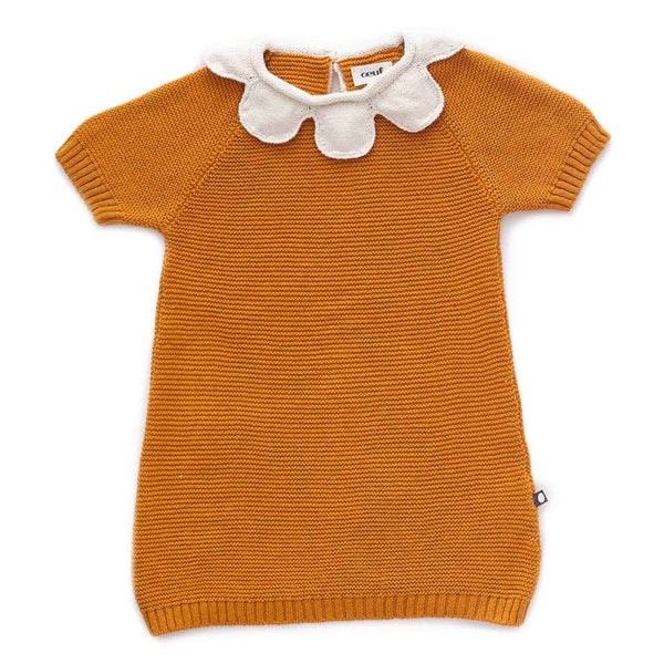Oeuf Kids dresses Daisy Collar Dress-Ochre - Ever Simplicity