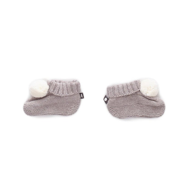 Oeuf Kids accessories Pompom Booties-Light Grey - Ever Simplicity