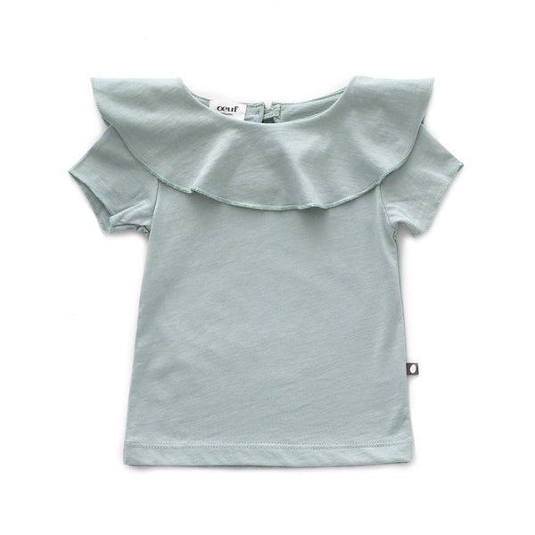 Ruffle Collar Short Sleeve Tee-Jadeite