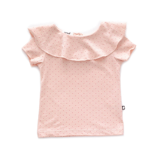 Ruffle Collar Short Sleeve Tee-Light Pink/Rust Dots