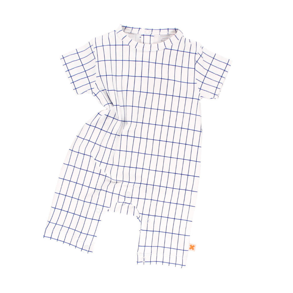 tinycottons Kids one-pieces grid SS short onepiece-blue - Ever Simplicity