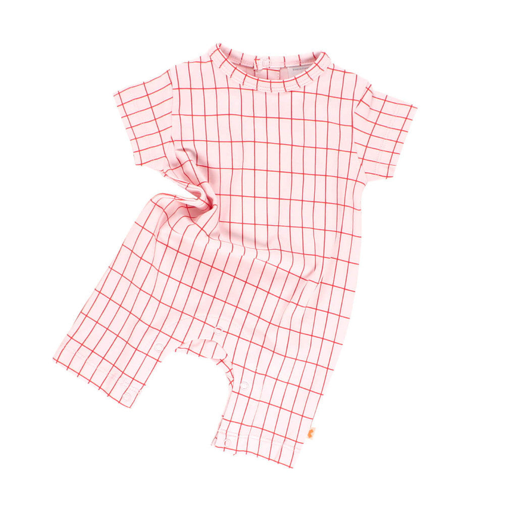 tinycottons Kids one-pieces grid SS short onepiece-pink - Ever Simplicity
