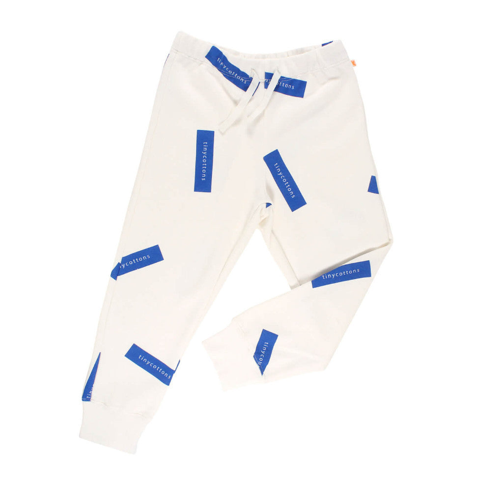 tinycottons Kids bottoms tiny logo sweat pant-off white/blue - Ever Simplicity