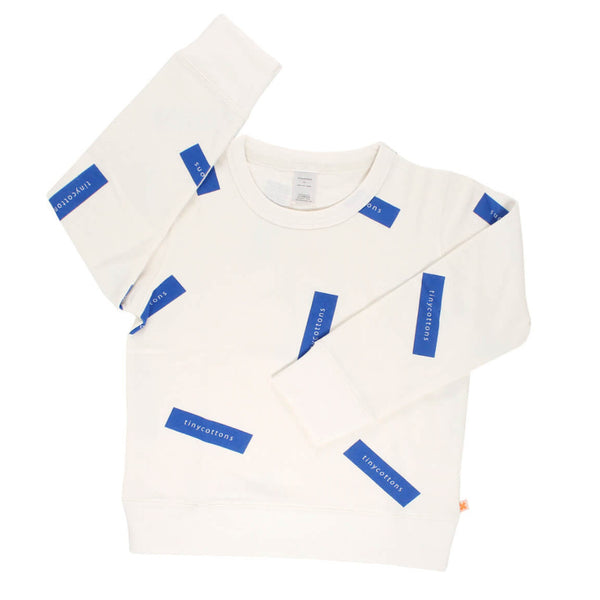 tiny logo sweatshirt-off white/blue