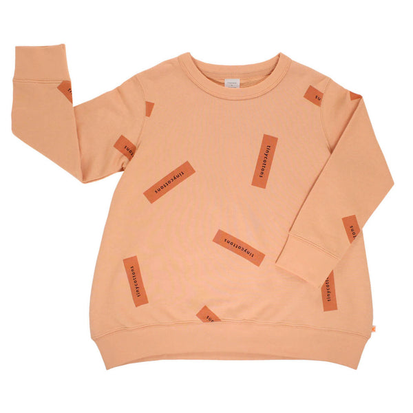 tiny logo oversized sweatshirt-nude/dark peach