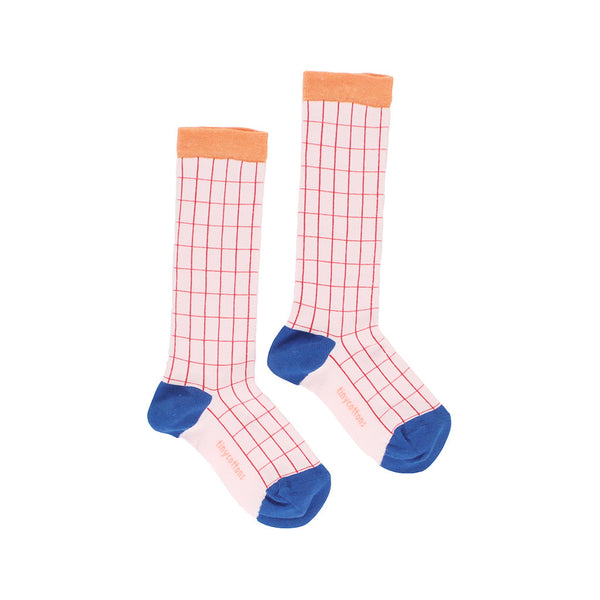 tinycottons grid high socks-pale pink/red - Ever Simplicity - 1