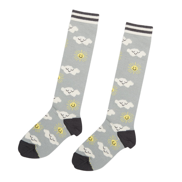 The Bonnie Mob Sunshine Clouds Knee Socks-Grey - Ever Simplicity - 1