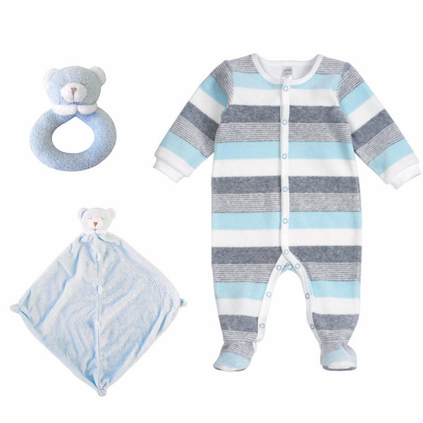 Velour Striped Sleeper Gift Set-Blue - Ever Simplicity  - 1