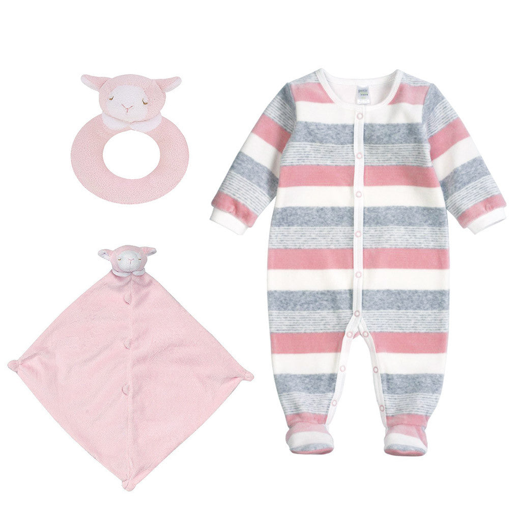 Velour Striped Sleeper Gift Set-Pastel Pink - Ever Simplicity  - 1