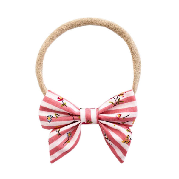 Pink Stripe Mini Sailor Bow - Ever Simplicity  - 1