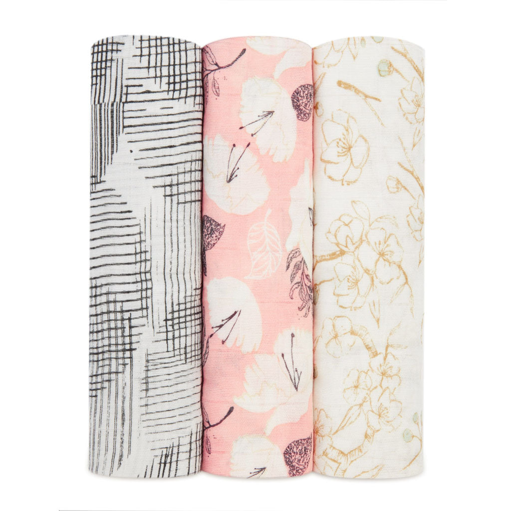 aden + anais Kids accessories Pretty Petals Silky Soft Swaddle 3 Pack - Ever Simplicity