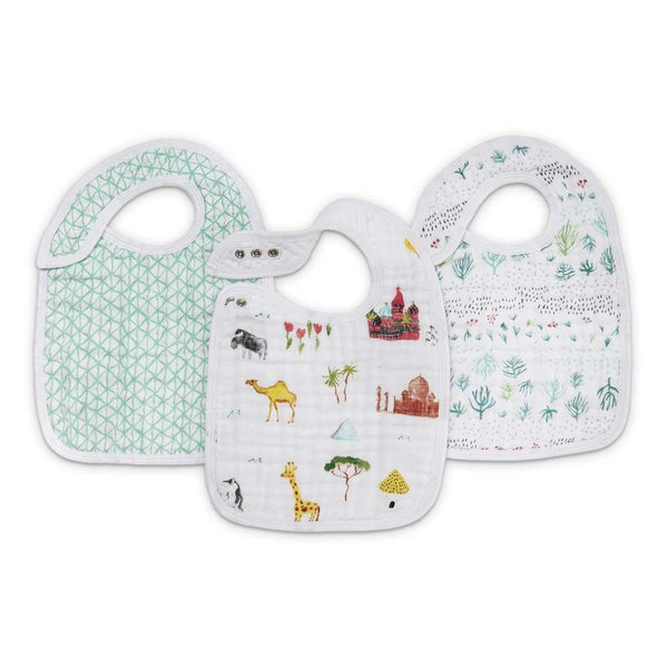 aden + anais Kids accessories Around the World Snap Bib 3 Pack - Ever Simplicity