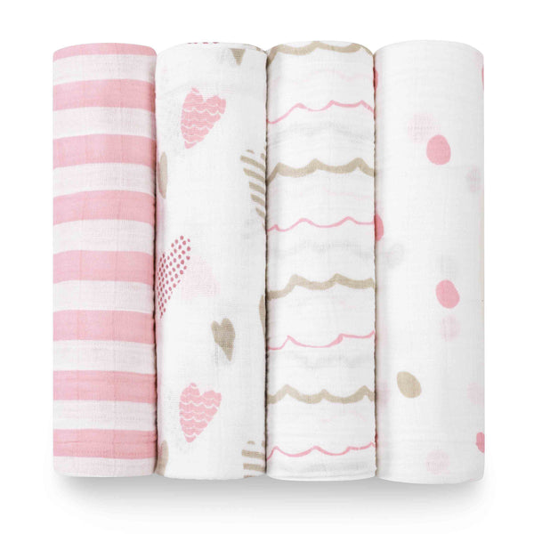 aden + anais Kids accessories Heart Breaker Swaddle Set 4 Pack - Ever Simplicity