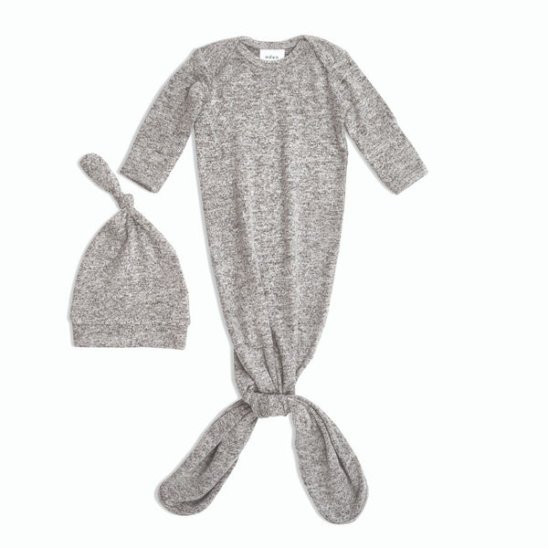 Snuggle Knit Gown+Hat Set-Heather Grey