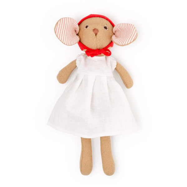 Hazel Village Kids toy Annicke Mouse in White Linen Dress and Bonnet - Ever Simplicity