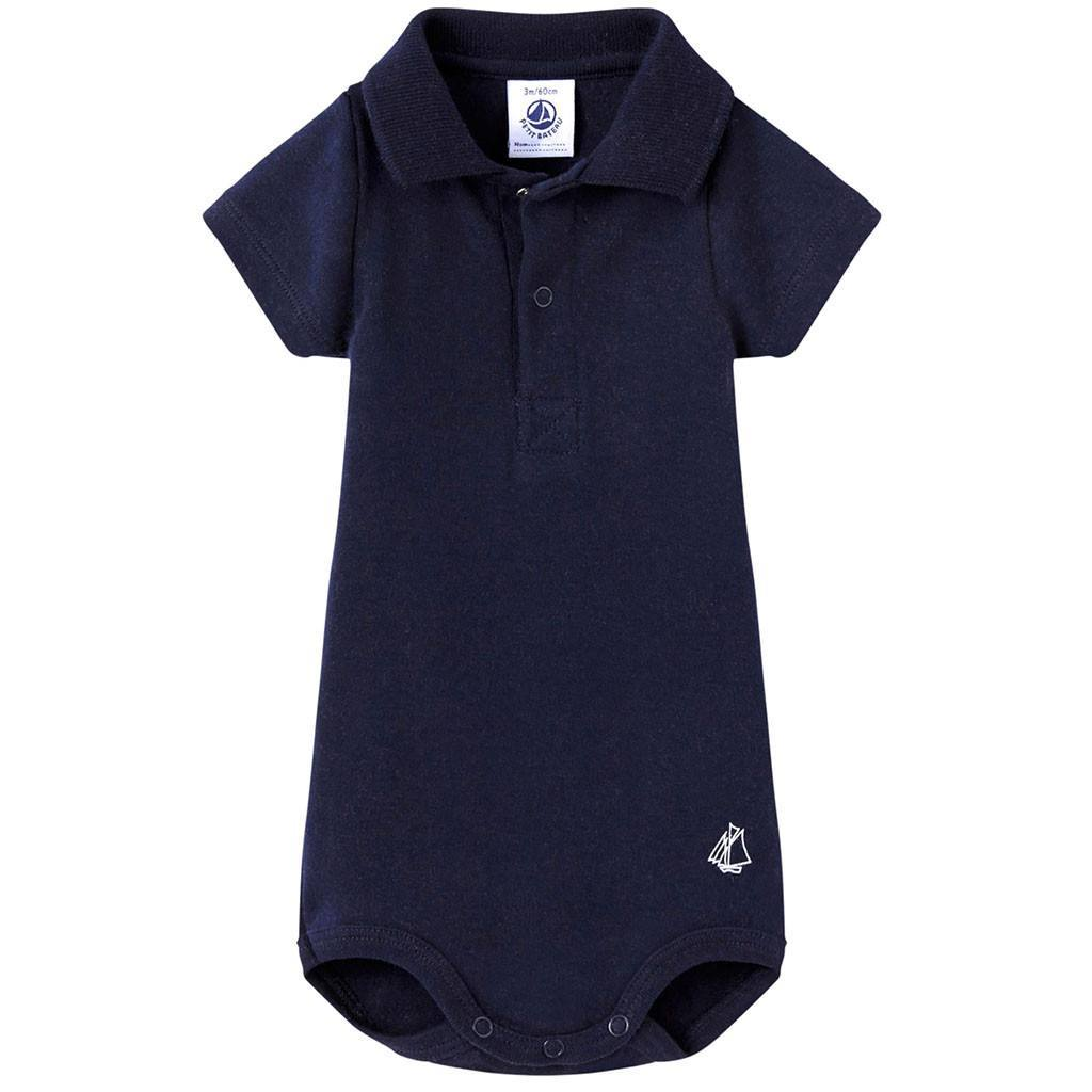 Petit Bateau Kids bodysuit Navy Short Sleeve Polo Bodysuit - Ever Simplicity
