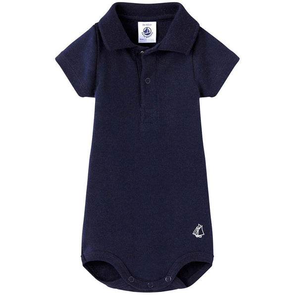 Petit Bateau Baby bodysuit Navy Short Sleeve Polo Bodysuit - Ever Simplicity