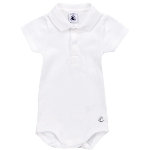 Petit Bateau Baby bodysuit White  Short Sleeve Polo Bodysuit - Ever Simplicity