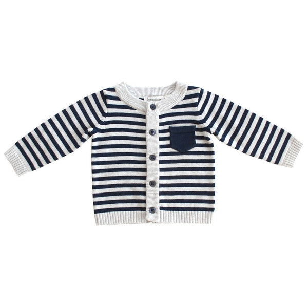Beanstork Baby cardigan Navy and Grey Stripe Cardigan - Ever Simplicity