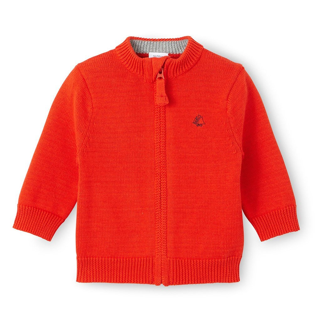 c91414b80 Petit Bateau Red Knittted Zip Up Baby Boy Cardigan Sweater Newborn-24M