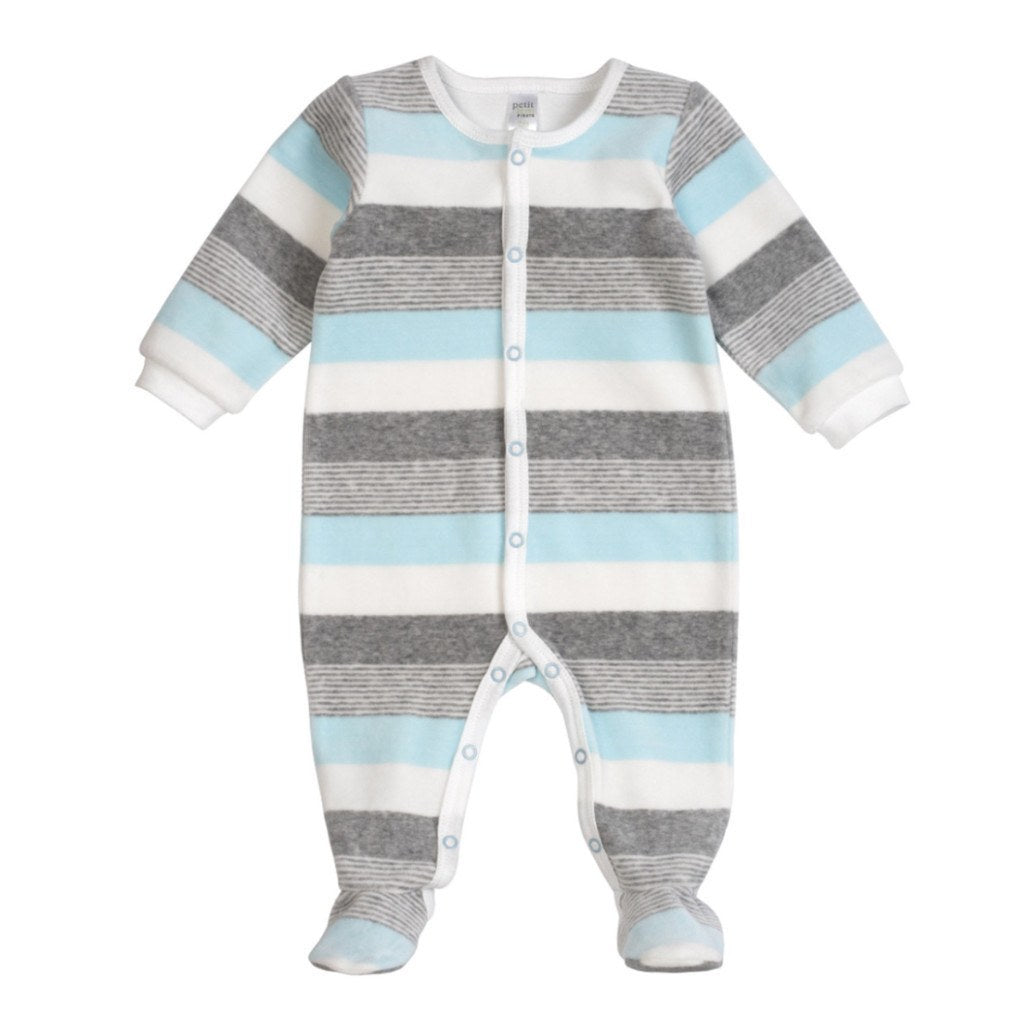 Petit Lem Baby footie Pastel Blue Velour Striped Sleeper - Ever Simplicity