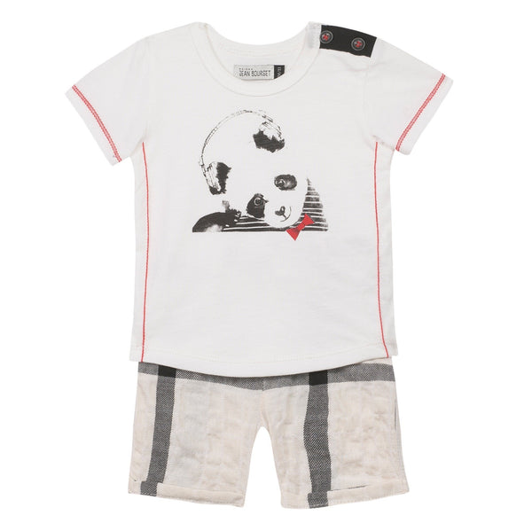 Jean Bourget Baby sets Panda Top and Checked Shorts Set - Ever Simplicity