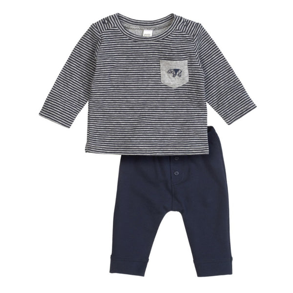 Petit Lem Baby sets Stripe Navy Top and Solid Pant Set - Ever Simplicity