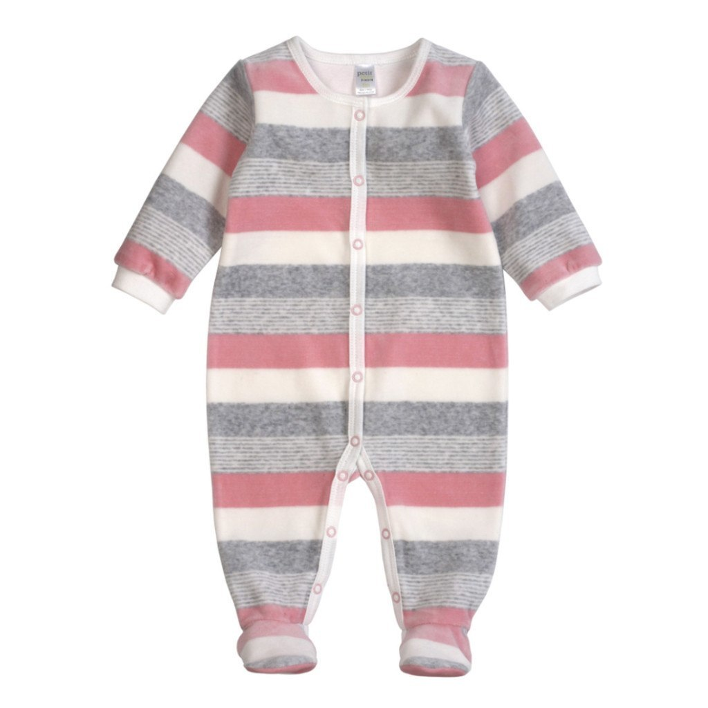 Petit Lem Kids footie Pastel Pink Velour Striped Sleeper - Ever Simplicity