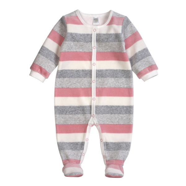 Petit Lem Baby footie Pastel Pink Velour Striped Sleeper - Ever Simplicity