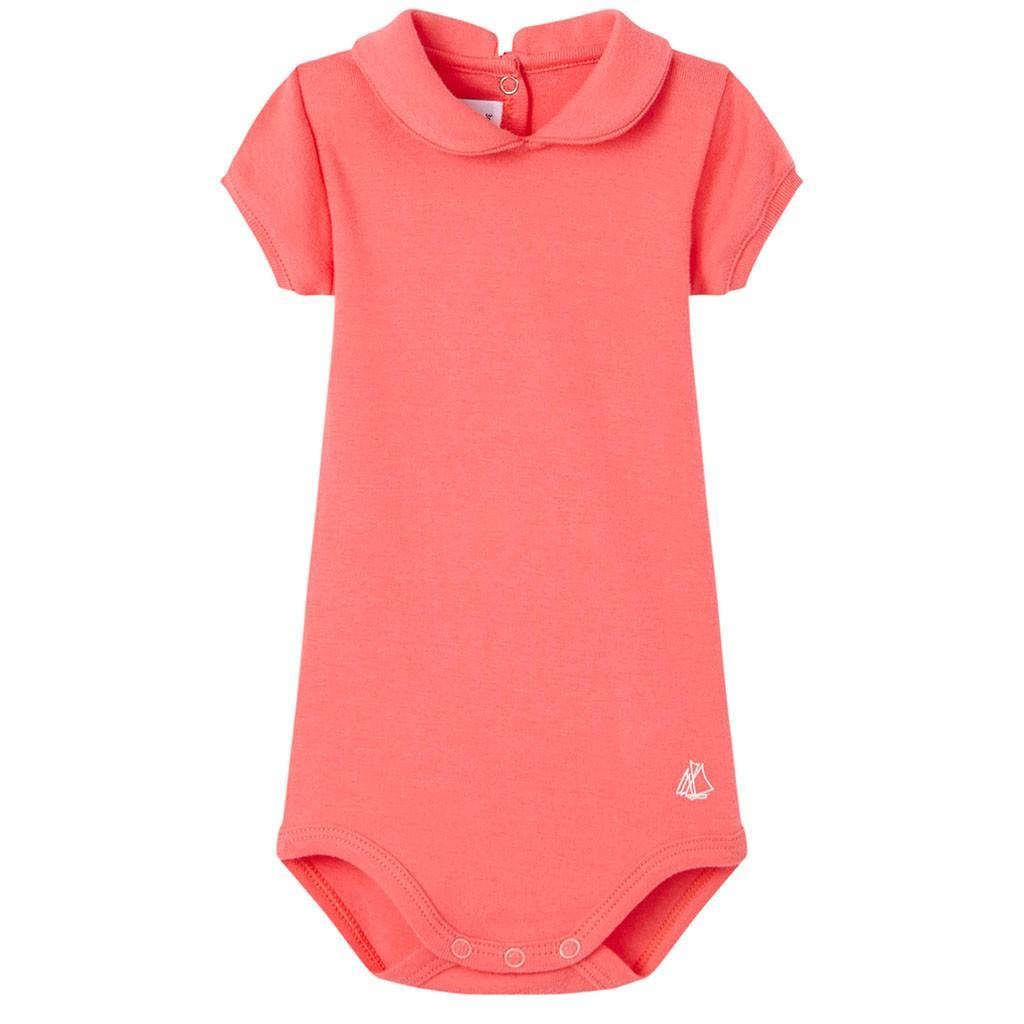 Petit Bateau Kids bodysuit Coral Bodysuit with Peter Pan Collar - Ever Simplicity