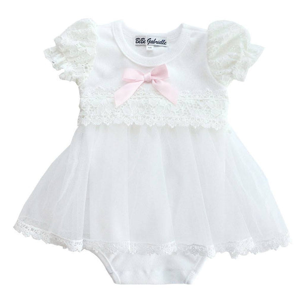 BeBe Gabrielle Baby bodysuit Single Ribbon White Baby Bodysuit Dress - Ever Simplicity