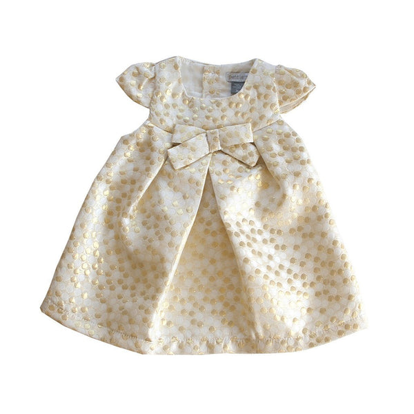 Petit Lem Kids dresses Gold Metal Dot Ribbon Dress - Ever Simplicity