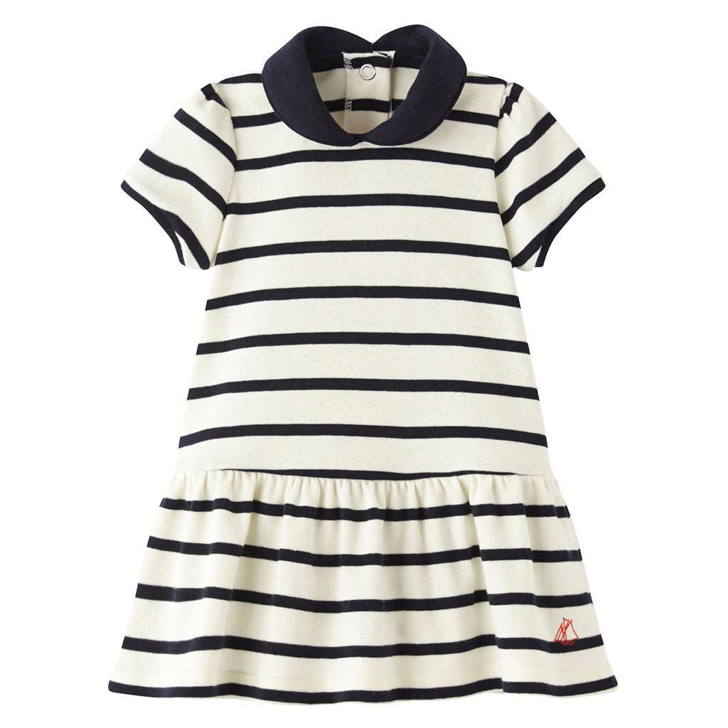 Petit Bateau Baby dresses Striped Dress W/Collar - Ever Simplicity