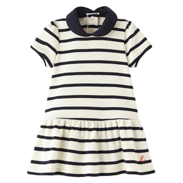 Petit Bateau Kids dresses Striped Dress W/Collar - Ever Simplicity