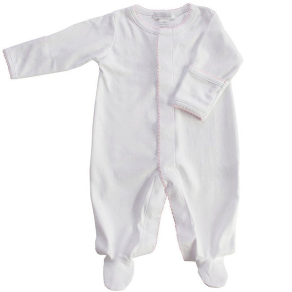 Kissy Kissy Kids footie Pima Cotton Basic Footie White/Pink - Ever Simplicity