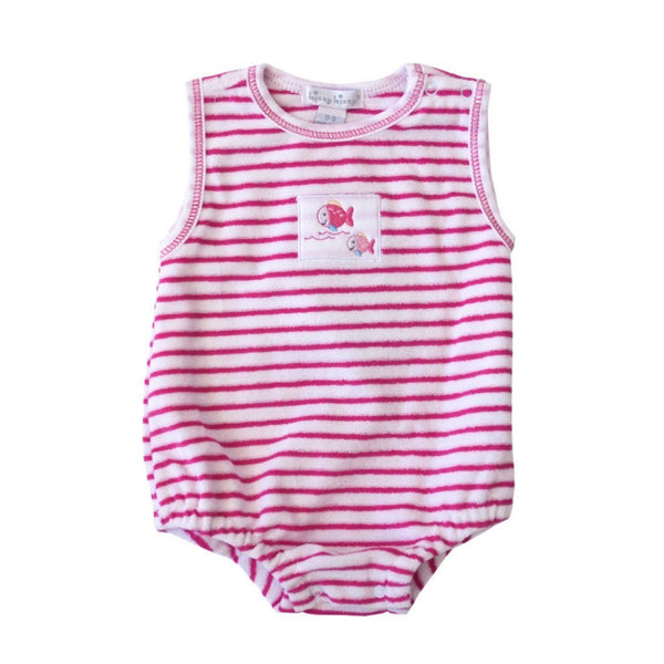 Kissy Kissy Baby one-piece Whale Tails Terry Fuschia Bubble - Ever Simplicity
