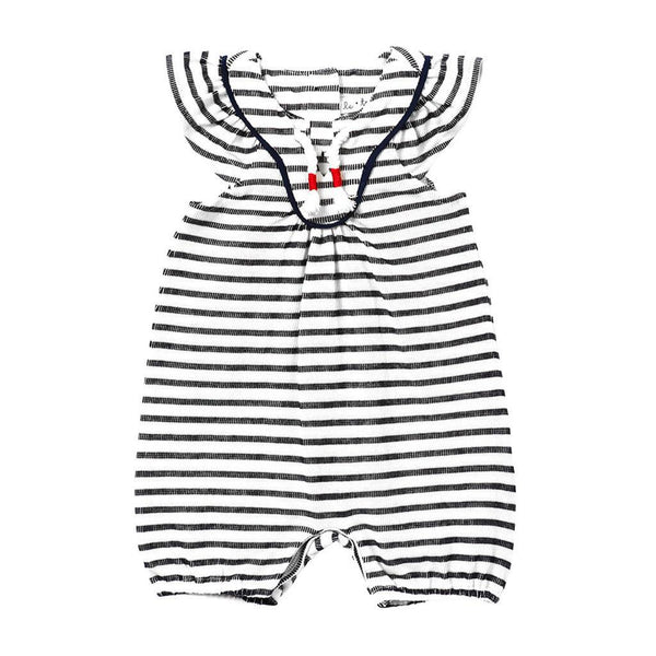 Le Top Kids one-piece Baby Girl Stripe French Terry Romper - Ever Simplicity