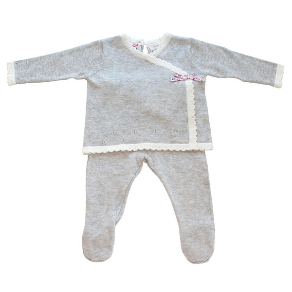 Angel Dear Kids sets Coastal Garden Light Grey Heather Knit Kimono Set - Ever Simplicity