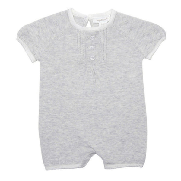Angel Dear Kids romper Coastal Garden Bubble Light Grey Heather Knit Romper - Ever Simplicity