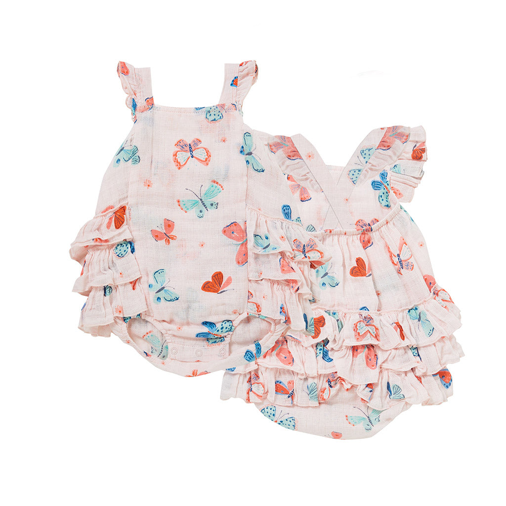 Angel Dear Kids one-pieces Butterflies Muslin Ruffle Sunsuit - Ever Simplicity