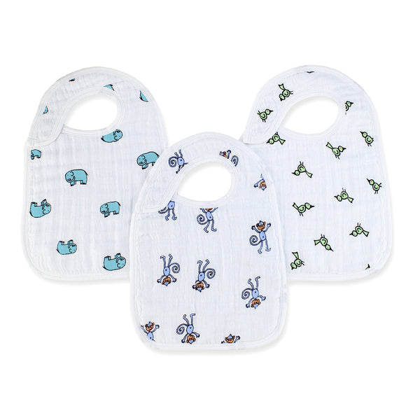 aden + anais Kids accessories Jungle Jam Classic Snap Bib 3 Pack - Ever Simplicity