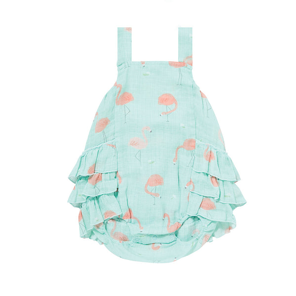 Angel Dear Kids one-pieces Flamingo Muslin Ruffle Sunsuit - Ever Simplicity