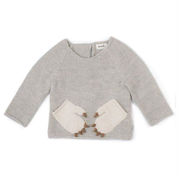 Oeuf Kids tops Monster Sweater-Light Grey/White - Ever Simplicity