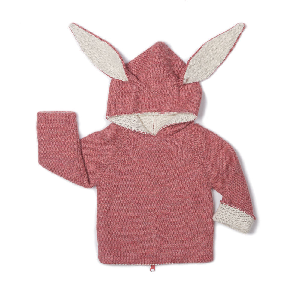 Oeuf Kids cardigans Animal Hoodie-Rose Bunny - Ever Simplicity