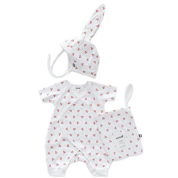 Oeuf Kids one-pieces Bunny Set-White/Cherries - Ever Simplicity