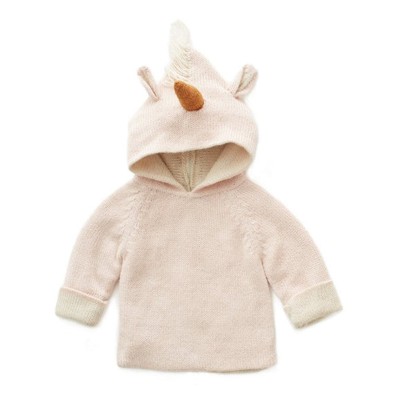 Oeuf Kids cardigans Animal Hoodie-Lt. Pink Unicorn - Ever Simplicity