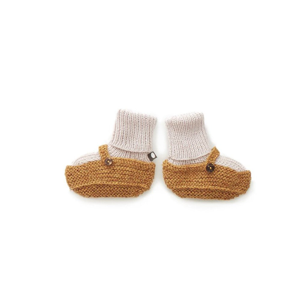 Oeuf Kids accessories Sock Booties-Mustard/White - Ever Simplicity