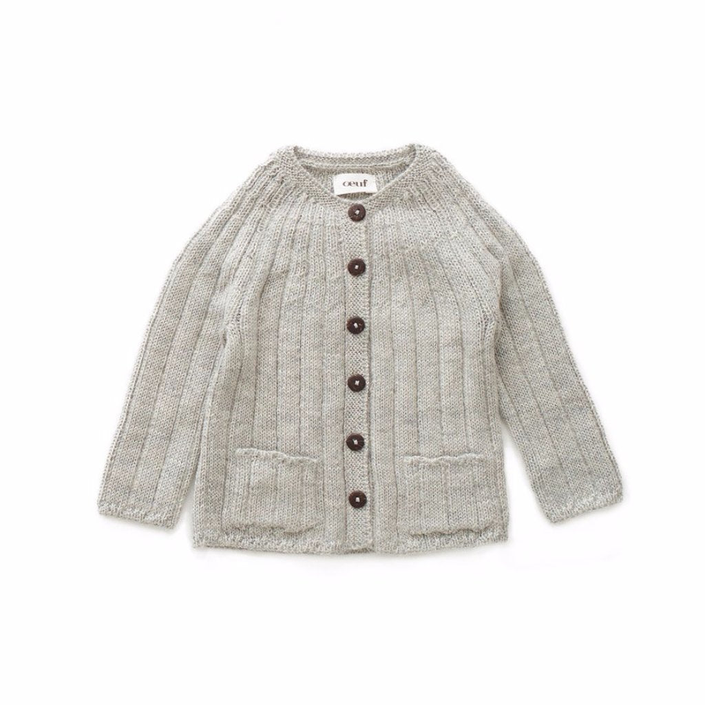 Oeuf Kids cardigans Ribbed Cardigan-Light Grey - Ever Simplicity
