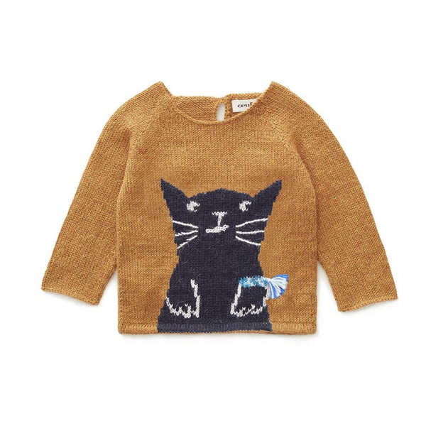 Oeuf Kids tops Cat Sweater-Ochre - Ever Simplicity
