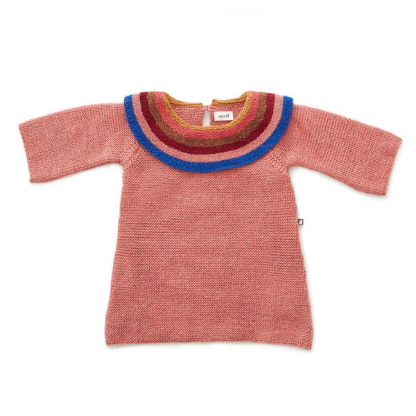 Oeuf Kids dresses Rainbow Collar Dress-Rose/Multi - Ever Simplicity